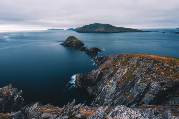 dramatic coastal view of the Blasket Islands from rocky cliff